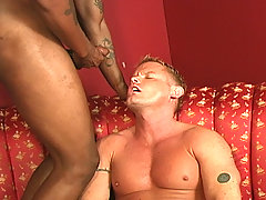 Muscular blond gay interracial blow assfuck facial
