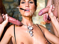 Smoking brunette slut gets double penetrated