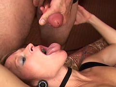 Hot milf cocksucker getting facial after slurp job