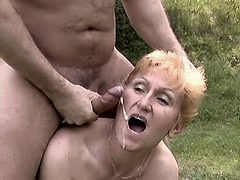 Granny gets cum outdoor