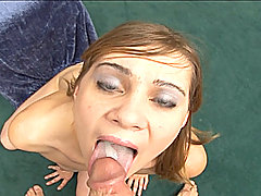Cock-sucking cute amateur chick Cindy Sterling on her knees