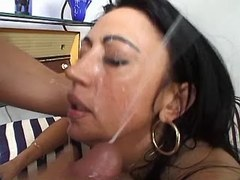 Gal sucks two cocks and gets facial