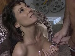 Beautiful lustful brunette gets cum