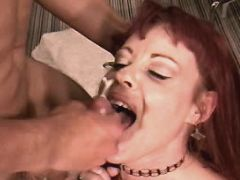 Milf gets facial after sex on floor