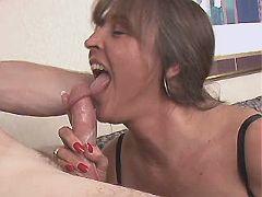Chubby mature does blowjob n fucks