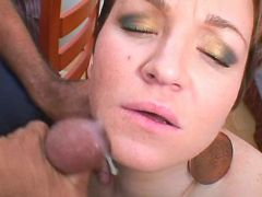 Chubby girl gets facial in groupsex
