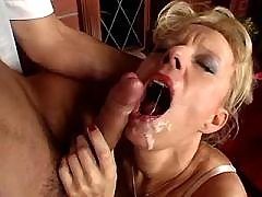 Hot slut drinks sperm after hard fuck in all holes