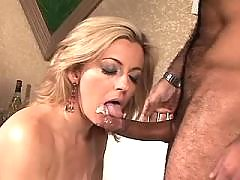 Blonde mature gets facial after sex in doggy style