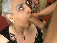 Old dama sucking cock