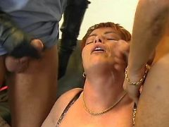 Redhead mature gets double cumload