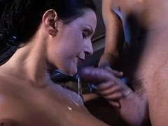 Hot lady sucks cocks of two workers