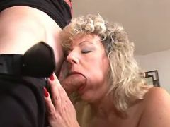 Blonde granny throats strong cock