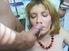 Men jizz on pregnant cutie by turns