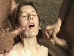Pregnant milf gets cum in groupsex