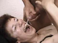 Mature gets cum in mouth