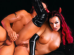 Wild devil girl in latex dominating this guy