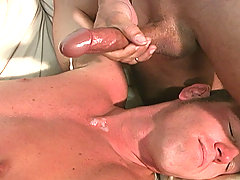 Interracial gay threesome assfucking facials