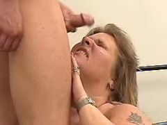 Obese lady gets hot cum in mouth