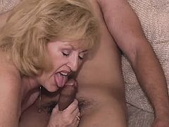 Chubby mom sucks and jumps on dick