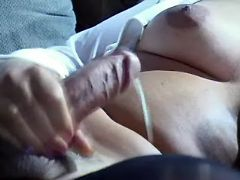 Lusty shemale cums and gets cumload
