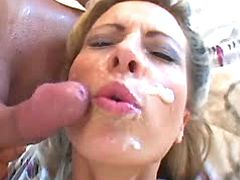 Lewd mature gets facial
