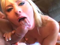 Blond milf rides big hammer and makes it burst out