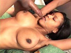 Busty black getting a creamy facial