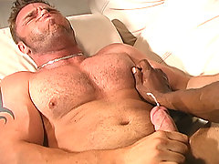 Interracial gay muscular blowjob buttfuck cumshot