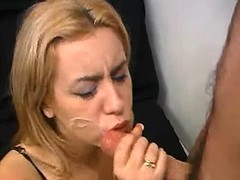 Smooth blonde gets facial