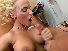 Hungry milf gets cum on cool tits and face
