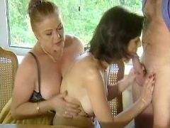 Mature and girl suck cock